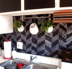Decorating for Renters • Tips, Ideas and Tutorials! Including from 'design sponge', see how they used chalkboard contact paper to cover cabinet fronts and backsplash.