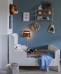 Kids room 💙 Stylish, Decorative & Playful 👌🏻 Our little unicorn lamp looks so cute in this lovely room! Boys Room Decor, Boy Room, Kids Bedroom, Ideas Habitaciones, Deco Kids, Blue Home Decor, Toddler Rooms, Kids Room Design, Kid Spaces