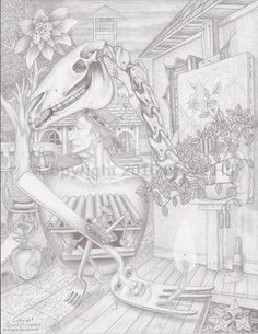 Dr. Applehead returns to Civilization  #fantasyart #surreal #fineart #pencildrawing #blackandwhite
