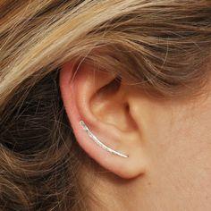 Grimpeurs d'oreille, argent martelé boucles d'oreilles, boucles d'oreilles broches 25mm, boucle d'oreille grimpeurs, d'oreille en argent Pins, grimpeur boucles d'oreilles, oreille robots, boucles d'oreilles Pin