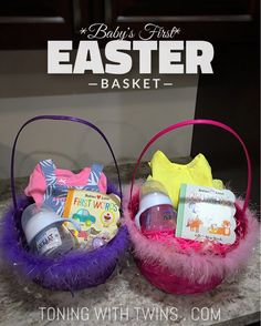 The best easter basket ideas for your newborn girls first easter what exactly do you put in a babys 1st easter basket via toningwithtwins negle Images