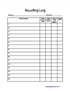 Reading logs for middle school templates
