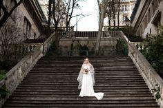 Romantic empire wedding dress with long veil in Paris #laceweddingdress #veil #robedemarieedentelle Photo credit: Next Door Stories