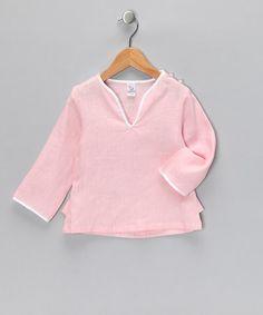 Pink Linen Kaftan Top