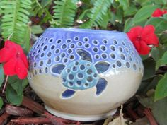 Wheel Thrown Pottery Sea Turtle Luminary by ALittleOffCenter, $45.00