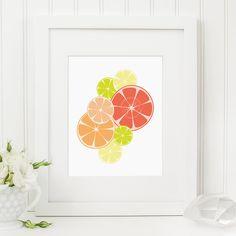 Citrus Kitchen Decor Art Print Orange Lime Lemon Grapefruit Tangerine By Freeborboleta On Etsy
