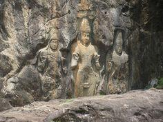 Buduruwagala Buddhist statues, Buduruwagala Rock Carving, Sri Lanka (www.secretlanka.com) Mahayana Buddhism, Tour Operator, Maldives, Sri Lanka, Statues, Mount Rushmore, Carving, Tours, Island
