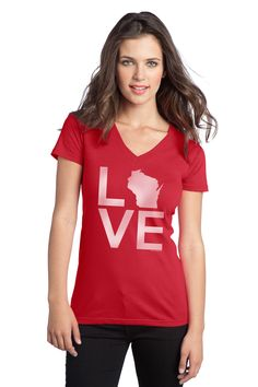 Red V-neck Ladies LOVE shirt from AW Artworks LLC for $15.00