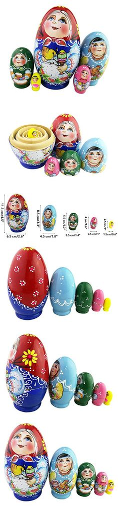 Set of 5 Egg Shape Cute Girl Little Chicken Random Color Easter Egg Kids Stacking Toy Christmas Birthday New Year Gift Home Decoration (Random Colors Delivered)