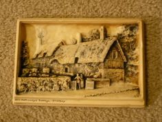 "#4731/2/3/4-Antique ""IVOREX"" plaque of Ann Hathaway cottage-size 6.50"" x 9.00""- - http://get.sm/4ZJjti1 #tradebank Antiques,Hamilton ON"