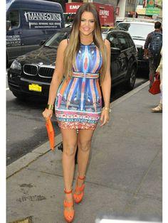 Khloe Kardashian works bright prints