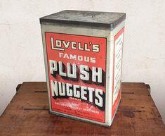 Vintage English Tin, Lovell's Plush Nuggets Tin / Advertising Tin, General Store Food Can / Farmhouse Decor, Rustic Kitchen Storage