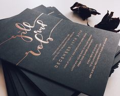 gold-foiled letterpress wedding stationery by Paige Tuzee (Top Design Wedding Invitations)