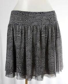 EXPRESS Large GrayFloral Sheer Net Full Short Mini Skirt #Express #FullSkirt