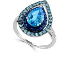 Effy Ocean Bleu Multi-Stone, Semi-Precious, Diamond and 14K White Gold... ($1,075) ❤ liked on Polyvore featuring jewelry, rings, blue, 14 karat white gold ring, teardrop diamond ring, 14k diamond ring, fine jewelry and white gold rings