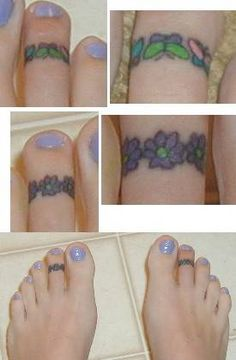 toe ring tattoos flower and butterfly