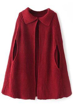 Cape Ribbed Knit Cardigan