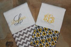 Set of 2 Personalized Burp ClothsBaby Girl by SweetSouthStitches, $18.00