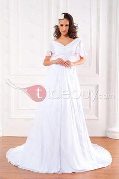 AラインVネック半袖コートビーズシフォンウェディングドレス