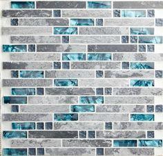 Grey Blue Backsplash | Blue shell tile glass mosaic kitchen backsplash tiles SGMT026 grey ...