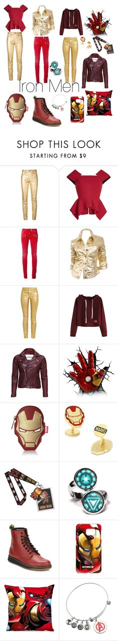 """""""iron men"""" by kalina-stoycheva ❤ liked on Polyvore featuring Étoile Isabel Marant, Roland Mouret, Balmain, Moschino, VIPARO, Loungefly, Cufflinks, Inc., Marvel and Dr. Martens"""