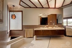 1961 mid-century modern time capsule in Minnesota - Master Bath with sunken Roman tub, completely open to Master Suite