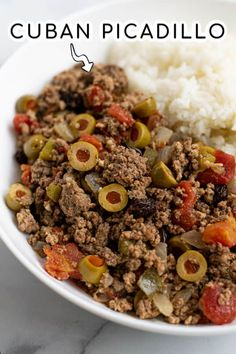 Ground Pork Recipes Easy, Ground Beef Recipes For Dinner, Dinner Recipes, Ground Chuck Recipes Dinners, Cuban Dishes, Pork Dishes, Cuban Picadillo, Family Meals, Recipes