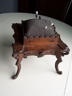 Antique-Victorian-period-Sewing-Pin-Cushion-on-Stand-Antique-Sewing-Box