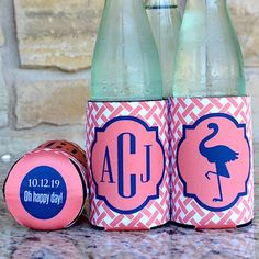 Monogrammed Full Color Party Koozies by Gracious Bridal. Show off your monogram and unique style with our fun Koozies! Personalized can and bottle koozies are a great value because your guests can use them during the event and then they can keep them as a favor of the occasion.