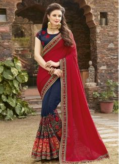 Modest Fancy Fabric Half N Half Designer Saree