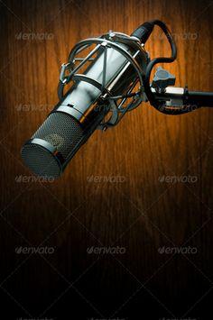 Buy Studio Microphone by AndrewParfenov on PhotoDune. Radio Icon, Vintage Microphone, Desk Ideas, Recording Studio, Acoustic, Photo Art, Studios, Stage, Container