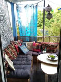 Cushions I have, fabric ? Living In A Hotel, Earth From Space, Room Goals, Terrazzo, White Walls, Exterior Design, Outdoor Spaces, Boho, Bohemian Style