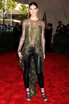 Hilary Rhoda wore pieces by Wes Gordon - a lace blouse with long train and leather trousers beneath.