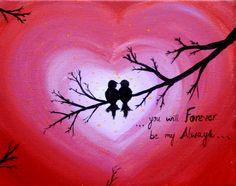 Love birds Acrylic painting canvas art Heart sign by PreethiArt