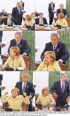 This still tickles me. George W. Bush giving German Chancellor Angela Merkel an unwanted shoulder rub. I Pity The Fool, Hey Brother, Funny Memes, Hilarious, Beer Humor, I Love To Laugh, World Leaders, People Of The World, History Facts