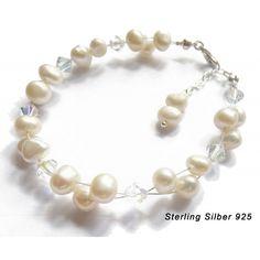 Brautschmuck 925 Sterling Silber Armkette Zuchtperlen