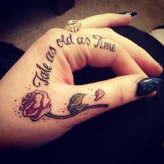 Cute, small and subtle Disney Tattoos, Ideas and Quotes for couples and sisters. These Walt Disney Tattoos are unique and great for inspiration. Dream Tattoos, Future Tattoos, Love Tattoos, New Tattoos, Body Art Tattoos, Thumb Tattoos, Finger Tattoo Designs, Tattoo Am Finger, Two Hands Tattoo