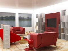 pretty red and white living room