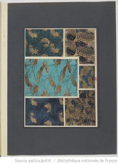 Étoffes de soie du Japon / Fragments tissés à décor de carpes, langouste et vagues
