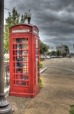 Phonebooth on the Square in Oxford, Mississippi (Love that stormy Mississippi sky!)