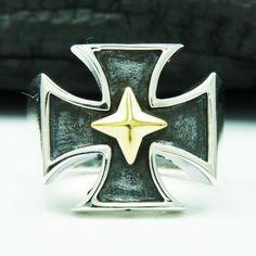 MALTESE CROSS GOLD BRASS STAR 925 STERLING SILVER US Size 11 MEN'S BIKER RING #Handmade