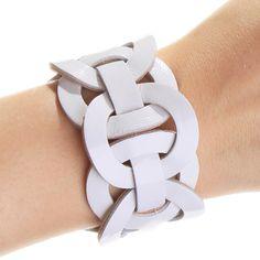 Купить Кожаный браслет КРУГ В КРУГЕ-25 - белый, кожаный браслет, браслет из кожи