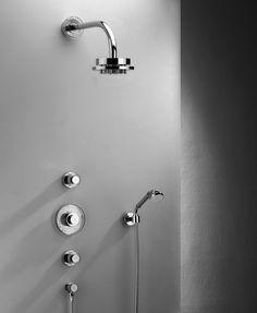 Volevatch Grand Hotel built in thermostatic shower set with diverter, hand shower and shut off valve. www.waterleau.eu Shower Set, Grand Hotel, Modern Bathroom, Door Handles, Bathtub, Home Decor, Self, Door Knobs, Standing Bath