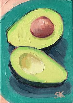 green avocado kitchen art oil painting print 5 x 7 by MadAboutHue, $20.00