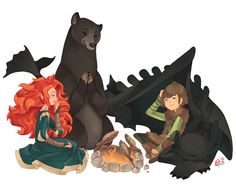 Merida and Elinor Meet Hiccup and Toothless