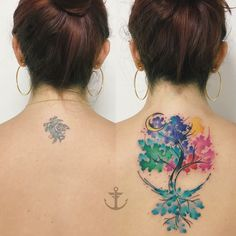 Cover Up Tattoos, Tatoos, Neck Tattoos, Watercolor Tattoo, Tatting, Body Art, Women, Outfits, Colorful Tattoos