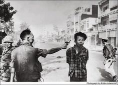 """1968 The execution of a Viet Cong Guerrilla During the NVA's Tet Offensive.   Where do you draw the line between defense, justice, and revenge? In this picture, who is the criminal? In Alabama we use the electric chair """"Yellow Mama"""" instead of a pistol. Is there a difference?"""