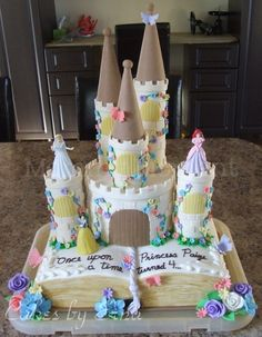 A Fairy Tale Castle Cake fit for a princess birthday party. Such a pretty cake for a princess party! Pretty Cakes, Cute Cakes, Beautiful Cakes, Amazing Cakes, Unique Cakes, Creative Cakes, Princesse Party, Book Cakes, Disney Cakes