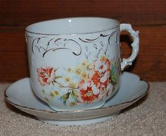 ROYAL VICTORIAN MOUSTACHE CUP & SAUCER STUNNING