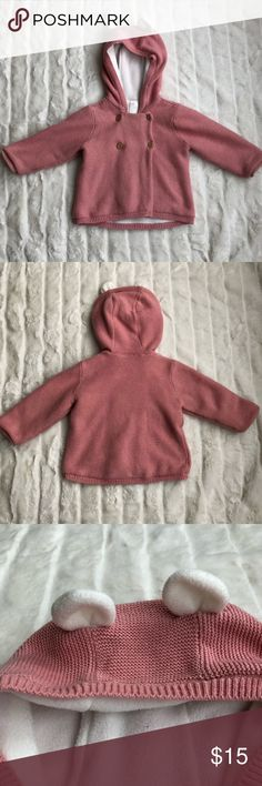Pink Bear hoodie Knit sweater H&M Barely Worn - Super Adorable H&M Knitted pink sweater. Warm and soft 💖 H&M Jackets & Coats
